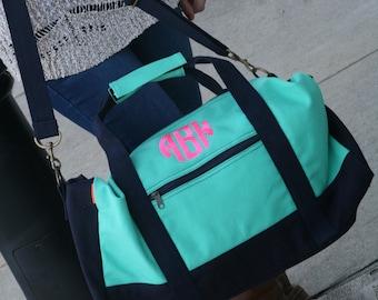 Monogrammed canvas duffel bag, monogrammed duffel, personalized duffel, monogrammed weekender