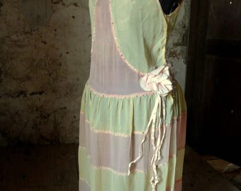 vintage art deco flapper 1920 chiffon drop waist dress