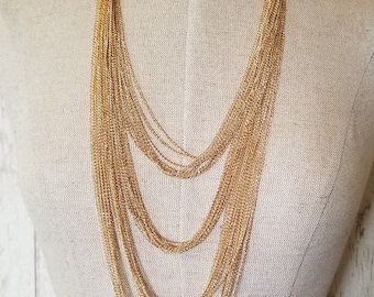 Gold Chain Necklace, Pink tint Gold Chains