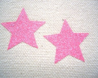 12 Iron on smooth glitter stars appliqués