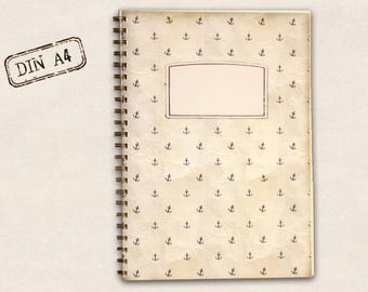 DIN A4 notebook - small anchor