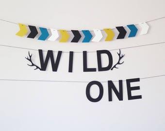 Wild one birthday garland, woodland 1st birthday decor, nursery gift, cake smash backdrop