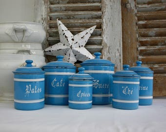 French / Enamel / Enamelware / French Enamel / Canisters / French Kitchen / Shabby Chic / Blue and White / French Country / Housewares