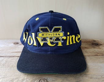 Vintage Distressed Michigan WOLVERINES Logo 7 Snapback Hat Official NCAA Licensed Collegiate Team Original Embroidered Sports Cap Ballcap