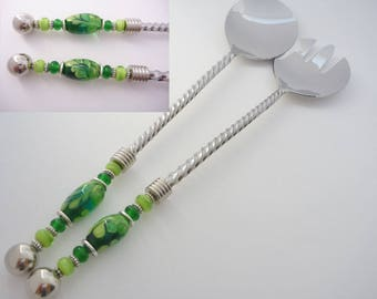 Salad Servers with Lampwork Glass beads in teal, emerald, and Lime green, Chrys Art Glass