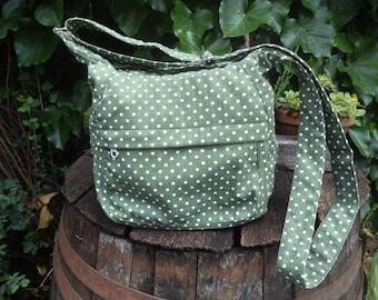 Olive polka dotted canvas shoulder bag,zippered bag