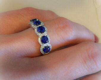 Sapphire Diamond Ring Band 5 Stone Halo 1.46ctw Round Genuine Sapphires & FVS2 Diamonds Wedding Anniversary Birthstone Band Engagement Ring