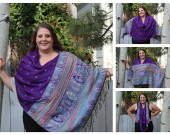 Purple Hippie Pashmina Poncho Shawl