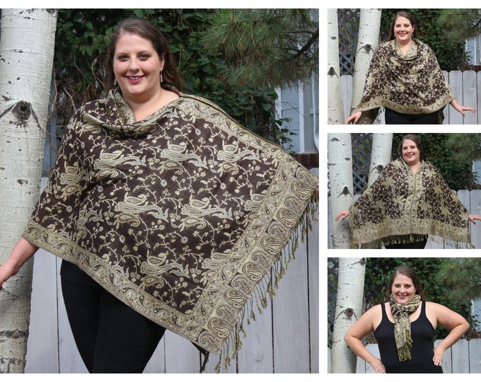 Featured listing image: Brown and Tan All-Over Paisley Pashmina Poncho Shawl