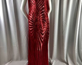 Red sparkling dimond design embroider with shiny sequins on a mesh fabric-dresses-fashion-decorations-apparel-sold by the yard.