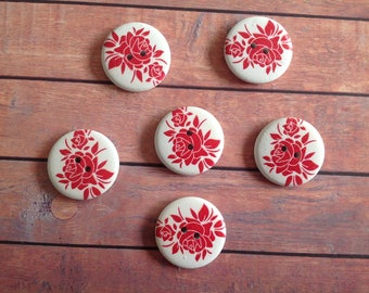 6 wooden buttons, 3cm wooden buttons, 2 hole buttons, printed craft buttons, floral printed buttons, red and white buttons