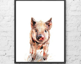 Piggy watercolor print watercolor animal art nursery animal watercolor painting kids wall decor - R11