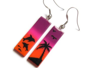 Palm Trees Earrings, Dolphin Earrings, Purple Earrings, Orange Earrings, Sunset Jewelry, Rectangle Earrings, Ombre Earrings, Summer Jewelry