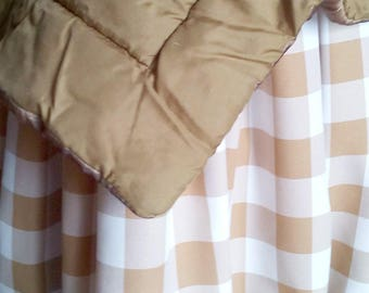 Taupe Buffalo Check Skirt - Buffalo Check Bed Skirt - Buffalo Check Bed Valance - Country Bedskirt - Buffalo Check Dust Ruffle  -Queen Size