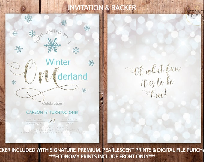 Winter Onederland Invitations Boy First Birthday Blue White Silver Glitter Sparkle Teal Bokeh Invitation Snowflakes - SEATTLE COLLECTION