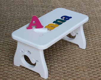 Name puzzle stool etsy puzzle name step stool new baby first birthday second birthday personalized childs negle Image collections