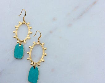 Geometric Oval Turquoise Earrings