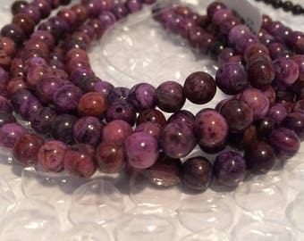 "20% OFF SALE 6mm Round Purple Crazy Lace Agate Beads - 8"" Strand"