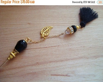 15% OFF SALE Chic Black Tassel Hijab Pin- Stick Pins / Hat Pins / Decorative Pins / Eid Gifts / Bridal Gifts / Tassel Pin
