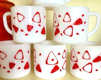 Set of 6 Federal Glass Amoeba Coffee Mugs, Boomerang Stacking Milk Glass Coffee Mug Set, Atomic Mid Century Modern