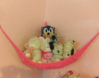 Handmade heavy duty crochet pet hammock, crochet toy net, hanging toy storage, stuffed animal storage, childrens room and nursery organizing