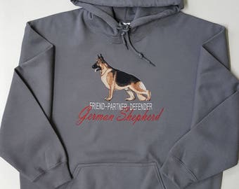 German Shepherd Embroidered Hooded Sweatshirt
