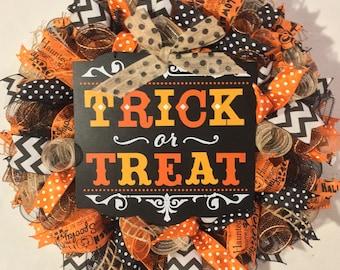 Halloween wreath, Halloween wreaths, trick or treat wreath, orange and black happy halloween trick or treat mesh wreath, fall wreath, wreath