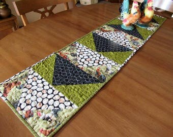 Quilted Table Runner Chickens and Eggs/Which Came First/Handmade