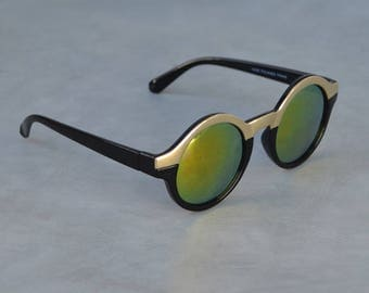 Round Sunglasses with Gold Detail and Metallic Lenses
