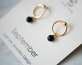 14K gold plated natural stones September Birthstone deep blue stud drop earrings hoop birthday gift