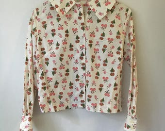 Vintage Novelty Print Collar Blouse