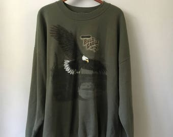 90s Bald Eagle Faded Sweater / Boxy Fit
