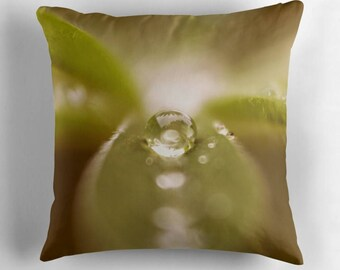 Raindrop Pillow, Green Pillow, Rain Drop Pillow, Leaves Pillow Cover, Raindrop Decor, Gardeners Gift, Cushion for Gardener, Green Pillow