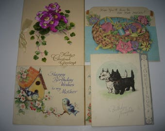 Seven vintage birthday cards and postcards
