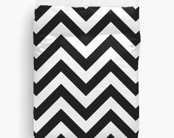 Black and White Chevron Duvet Cover, Teen Girl Room Decor, Dorm Duvet Cover, Girls Bedding, Dorm Room, Chevron Bedding, King, Queen, Twin