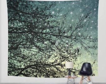 wall tapestry, oversized wall art, forest tapestry, tree tapestry, bohemian wall tapestry, nature tapestry, star tapestry, blue decor