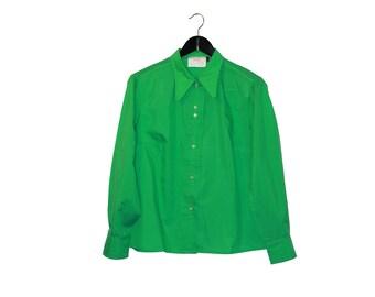 1970s vintage women blouse green 70s woman shirt hippie boho - vintage clothing