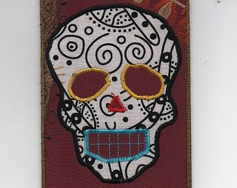 Day of the Dead Fabric Postcard