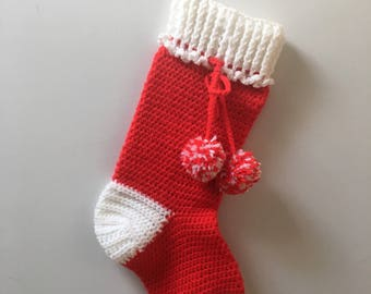 vintage crochet handmade Christmas stocking- red and white with XL pom poms