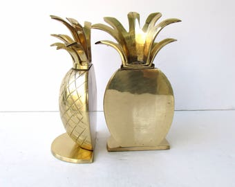 Vintage Brass Pineapple Bookends  - Brass Bookends - Brass Pineapple - Hollywood Regency Style - Solid Brass - Bookends - Andrea