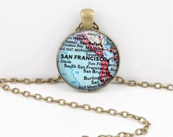 San Francisco California  Vintage Map Pendant Necklace or Key Ring