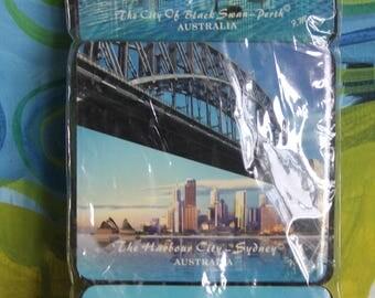 Vintage Cork Backed Australian Souvenir Bar Coasters Set of 6 Unused, Cities of Australia