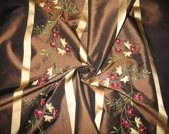 Embroidered & Flocked Silk Taffeta Fabric - Blooming Collection - Chocolate