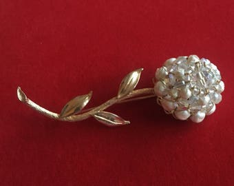 Pearl and Crystal Wired Flower Brooch