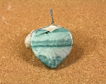 Polychrome Ocean Jasper Heart Pendant - Green and White Top Drilled Pendant