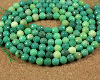 Grass Agate Round Beads - Faceted Teal and Tan Beads, 8mm