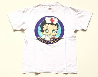 Vintage Betty Boop T Shirt Unisex Adult Betty Boop Shirt 100% Cotton Cartoon shirt tees and tops 90s cartoon size large
