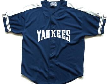 STARTER New York Yankees MLB baseball jersey 90's  throwback button up jersey mens XL yankees