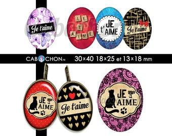 Je t'aime 2 • 45 Images Digitales OVALES 30x40 18x25 13x18 mm amour saint valentin etiquette noeud pois chat coeur papillon patte aimer