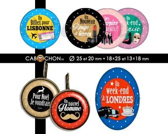 Liste de Noël • 60 Images digitales RONDES 25 20 mm OVALES 18x25 13x18 mm escarpin new york londres lisbonne sac chocolat moustache venise